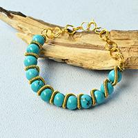 Turquoise Bead Bracelet - How to Make a Handmade Turquoise Bracelet with Golden Wire