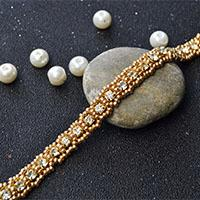 How to Make Bling Rhinestone Beaded Bracelet with Golden Seed Beads