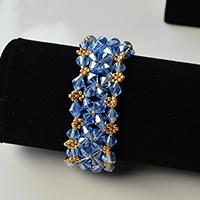 Ocean Style Bracelet – How to Make a Blue Glass Bead Bracelet with Seed Beads