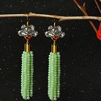Easy Earring Designs – How to Make Green Glass Bead Tassel Earrings