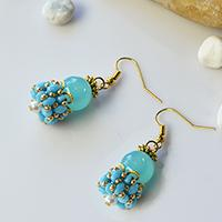 Blue Beaded Cer Earrings Design Tutorials To Make 2 Hole Beads