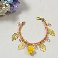 Rose Charm Bracelet—How to Make the Shining Yellow Rose Bracelet