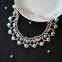 Instructions on How to Make Sea Wave Bib Necklace with Glass Pearl Beads