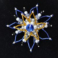 How to Make a Charming Blue and Yellow Beaded Flower Brooch