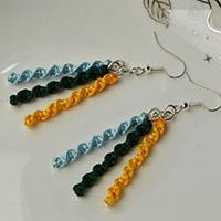 Simple Tutorials to Learn How to Make Earrings with Three Colors Thread