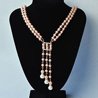 Beebeecraft instructions on how to make strand pink Pearl necklace