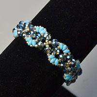 Beebeecraft DIY project - How to make a blue 2-hole seed beads stitch bracelet