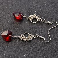 Beebeecraft tutorials on how to make Red heart dangle Earrings