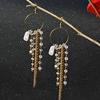 Beebeecraft tutorials on making hoop gemstone chain dangle Earrings for summer