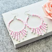 Learn from Beebeecraft How to Make a Pair of pink and white Seed Bead Hoop Earrings
