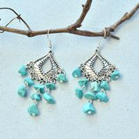 Beebeecraft Tutorial on How to Make Delicate Turquoise Beaded Dangle Earrings
