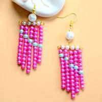 Beebeecraft Tutorials on Making Stylish Pink Pearl Earrings