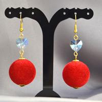 Beebeecraft Tutorials on Making Red Pompon Earrings