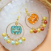 Beebeecraft Tutorial on How to Make Pearl Pumpkin Earrings