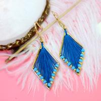 PandaHall Idea on Diamond Shaped Earrings With Blue Thread