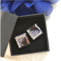PandaHall Selected Idea on Square Ear Studs Made Of Resin