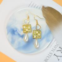 PandaHall Selected Idea on Square Shape Wire Wrapped Pearl Earrings