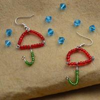 Как сделать бисерные серьги в форме зонтика