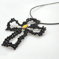 How to make a cross necklace using the pearl beads and wire only