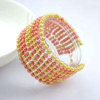 Handcrafted Beaded Jewelry Designs- DIY Beaded Pearl Bangle