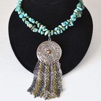 How to Make Vintage Tassel Necklace with Turquoise Beads and Chains within 15 Minutes