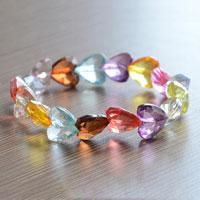 Acrylic Hearts Bracelet- Colorful Beads Shimmering Under the Sunshine