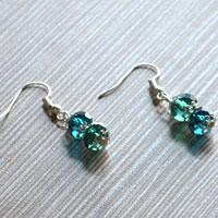 Design Your Own Earrings with Green Glass Beads and Silvery Bead Caps