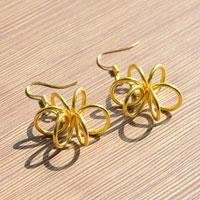Easy Step to Make Creative Golden Flower Earrings