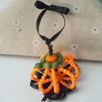 Homemade Hanging Pumpkin Decorations with Beads and Wire