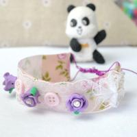 Handmade Delicate Bracelet with Ribbon and Rose Bead Tutorial