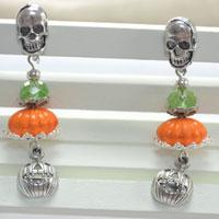 Easy Halloween Craft Ideas - Designing Halloween Themed Earrings with Skull and Pumpkin