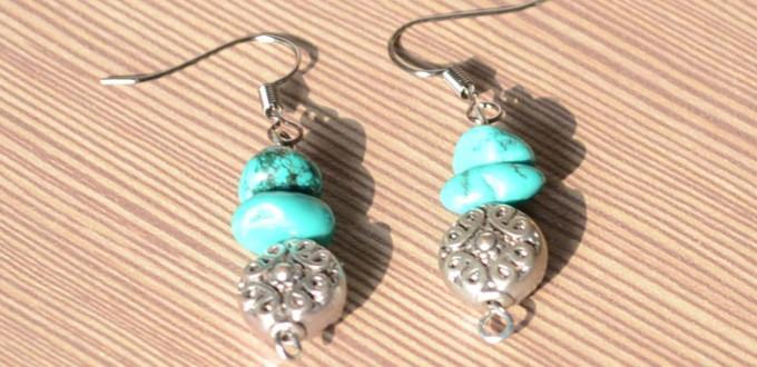 Easy Steps to Make Turquoise Hook Earrings
