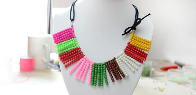 How to Make a Colorful Glass Bead Necklace Using One Basic Beading Skill