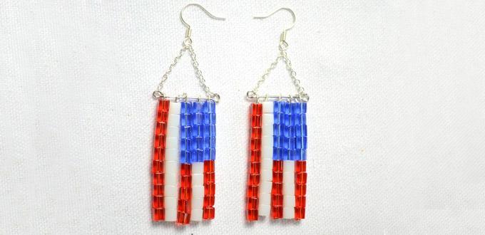 Easy Instruction on Making Beaded American Flag Earrings