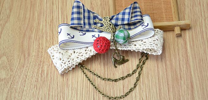 How to Make Princess Ribbon Bow Hair Clips with Chains and Charms