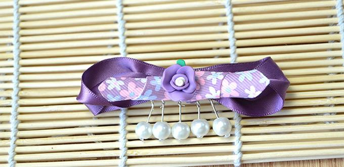Unique Purple Ribbon Bow Hair Clip with Pearl Charms Tutorial