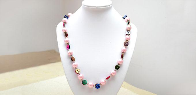 How to Make a Long Necklace with Pearl and Shell Buttons in Half an Hour