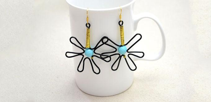 How to Make Cute Artistic Earrings with Wire and Turquoise Beads