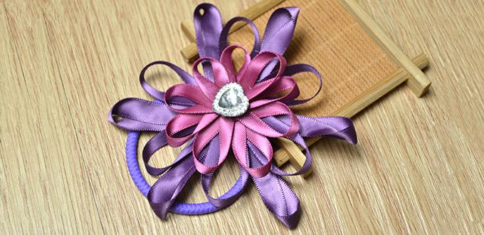How to Make Gorgeous Purple Flower Hair Ties with Ribbons