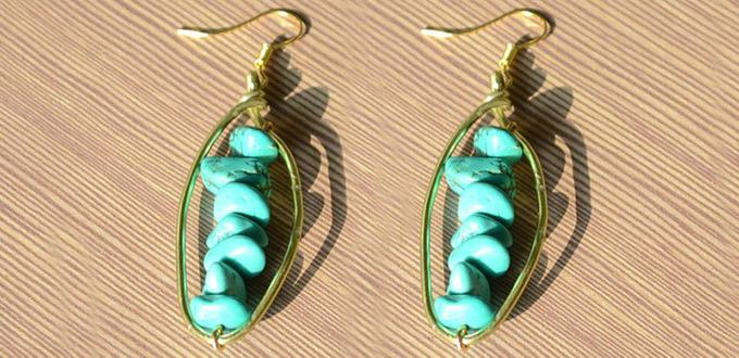 Easy Tutorial on Making Turquoise Beaded Hoop Earrings