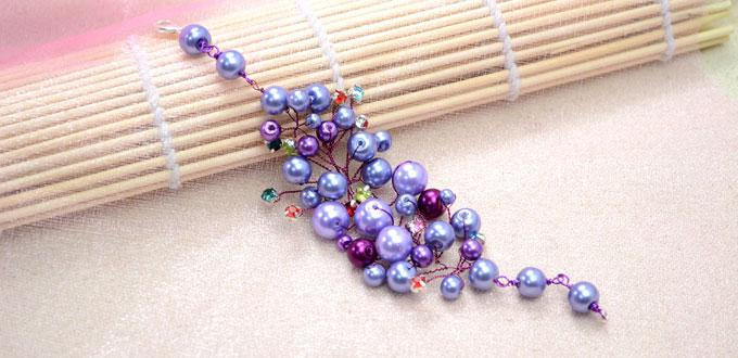 Make a Bridal Cuff Bracelet out of Purple Pearl Beads and Wire - with Photos