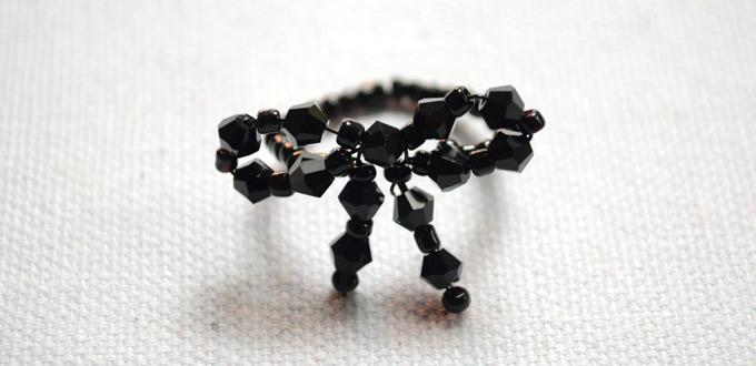 6 Easy Steps to Make a Black Beaded Bowknot Ring