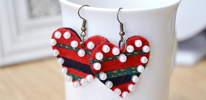 DIY Lovely Felt Heart Shaped Earrings with Beads