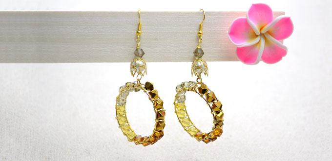 How to Make Creative Dangle Hoop Earrings with Ombre Crystal Beads and Wire