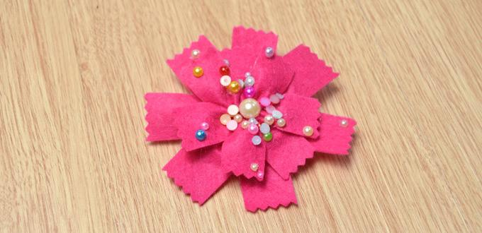 How to Make Cute Felt Flower Hair Ties with Colorful Beads for Girls