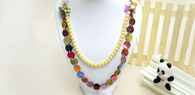How to make a long necklace with pearls and mother of pearl shell beads