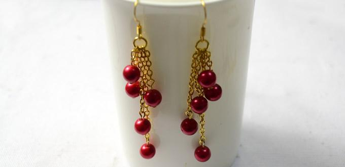4 Easy Steps to Make Red Pearl Dangle Earrings (with pictures)