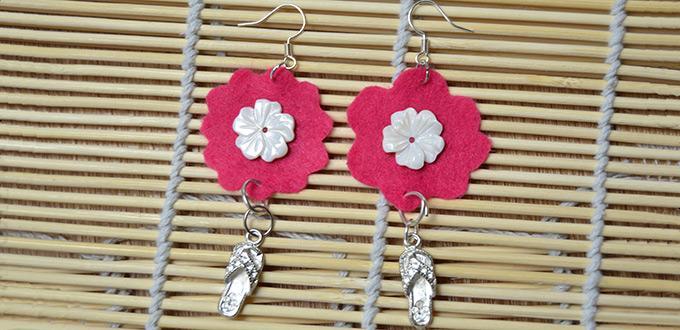 How to Make Bright Felt Flower Earrings with Pendants