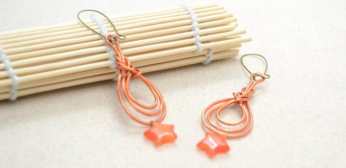 Photo Tutorial on Wire Wrapping Orange Red Pipa Knot Earrings