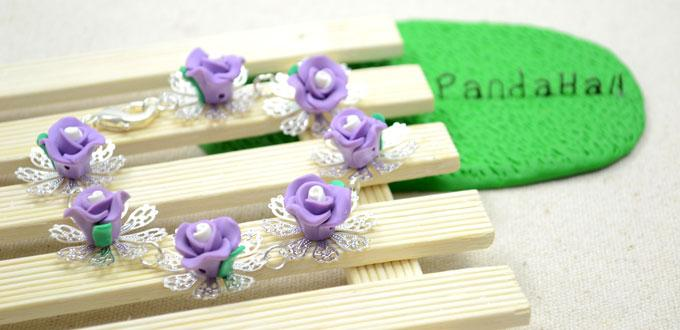 How to Make a Royal Purple Polymer Clay Rose Bracelet - Tutorial